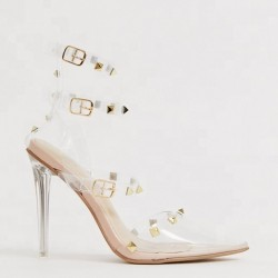 Clear Stiletto studded High Heels for Sexy Women